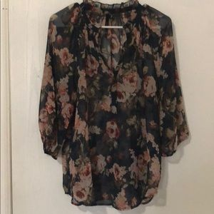 Navy floral blouse from Anthropologie